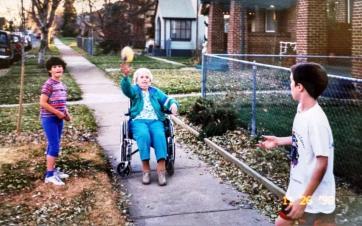 grandma and fence